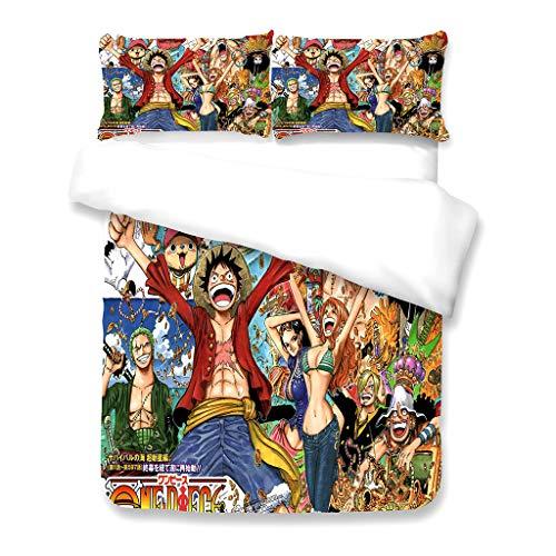 Conjunto de capa de edredom 3D Cool One Piece 3 peças anime japonês capa de edredom conjunto de cama Twin Full Queen King Size 1 capa de colcha e 2 fronhas - Presentes inovadores para amantes de fãs (