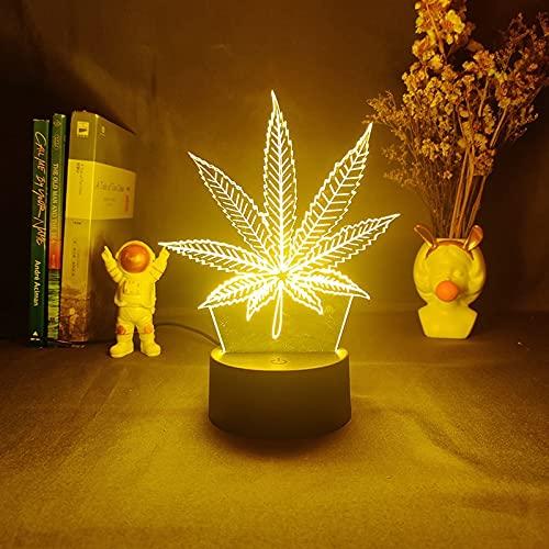 Toopower Hoja de Arce LED 3D Figura de luz Nocturna para Amigos Lava Kids Decor Light Child Cumpleaños Regalo USB Caída de lámpara (Color : 16color with Remote, Emitting Color : Black Base)