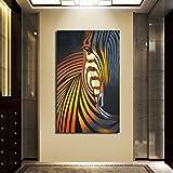 ganlanshu Pintura al óleo de Cebra de Animales Salvajes Impresa en póster de Cebra Natural,Pintura sin Marco,50X100cm