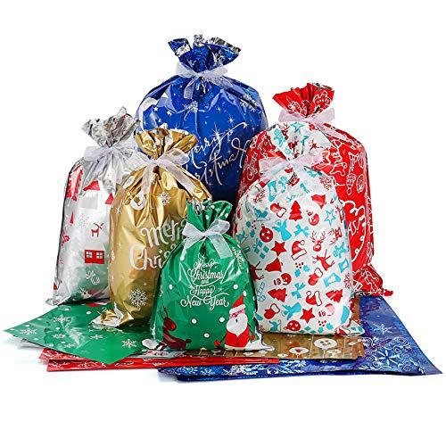 DazSpirit 35Pz de Gran tamaño Estilos Variados Bolsas de Regalo con Lazos de Cinta para Regalos de Envoltura de Regalos Bolsas para Regalos Navidad Bolsas Suministros de fiesta de Navidad
