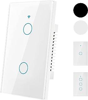 Interruptor de luz de pared inteligente WiFi,tecla táctil de alta sensibilidad con control remoto WiFi de 2.4G, control r...