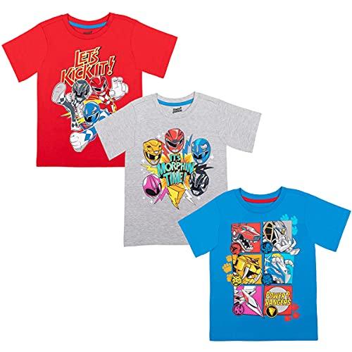 Power Rangers Toddler Boys 3 Pack Short Sleeve T-Shirt Blue/Gray/Red 4T