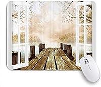 マウスパッド 個性的 おしゃれ 柔軟 かわいい ゴム製裏面 ゲーミングマウスパッド PC ノートパソコン オフィス用 デスクマット 滑り止め 耐久性が良い おもしろいパターン (湖の山の自然雄大な雪に覆われた山々ピークブルーオーシャン湖の冬の風景アートプリント)