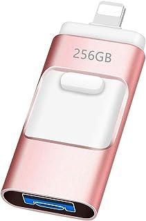Atheta Clé USB pour iPhone 256 Go Clef USB 3-en-1 OTG USB 3.0 Cle USB Cryptée Stockage Externe pour iOS PC Ordinateurs iOS...