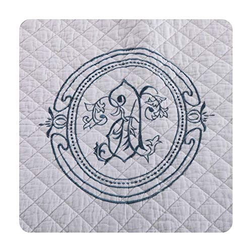 Siunwdiy Top of Sheds and Betspreads 2 Pillowcasas, Colcha 2 Personas Patchwork Reversible algodón algodón Casa de Cama, WhiteaDGray,Azul,230 * 250cm
