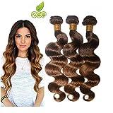 Morningsilkwig Body Wave Tissage Cheveux Humain With Closure 100g/Pcs Cheveux Vierges Brésilien T430 Color 4x4 Closure Rémy...