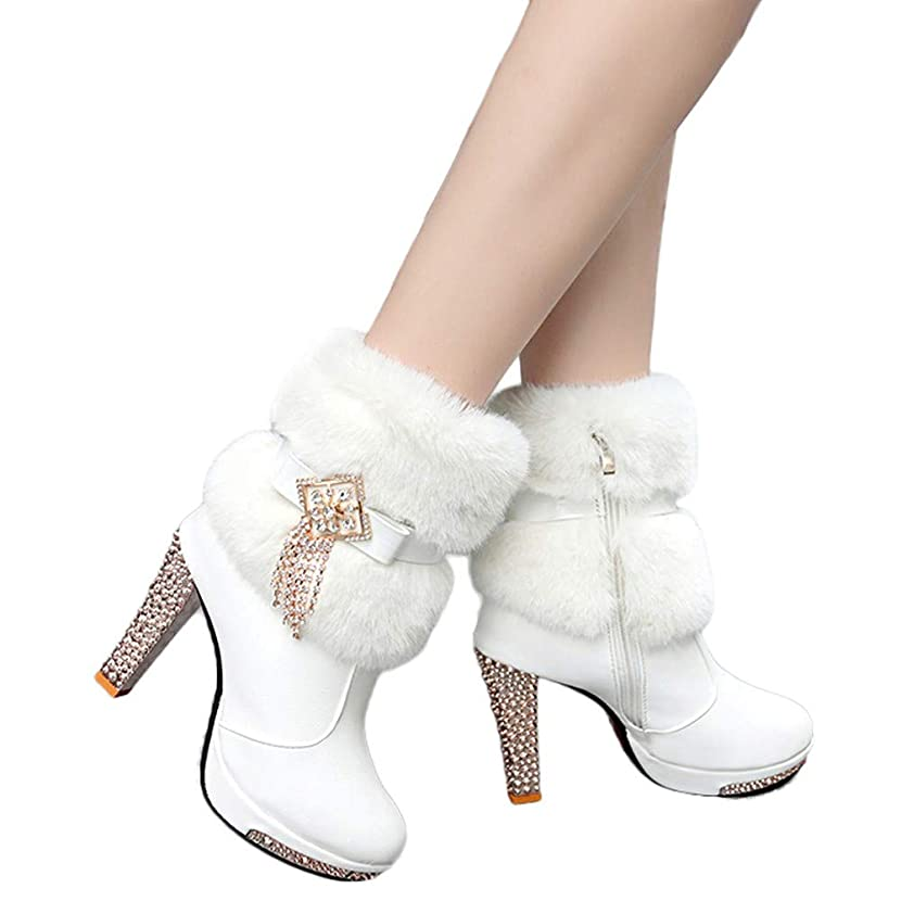Todaies Women Plush Rhinestone Middle Tube Leather Boots Zipper High Heels Shoes