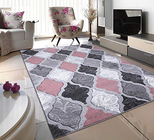 BLUSH PINK SILVER WHITE GREY TRELLIS SMALL MEDIUM XX LARGE RUG NEW MODERN SOFT THICK CARVED CARPET NON SHED RUNNER BEDROOM LIVING ROOM AREA RUG MAT (66 x 230 cms)
