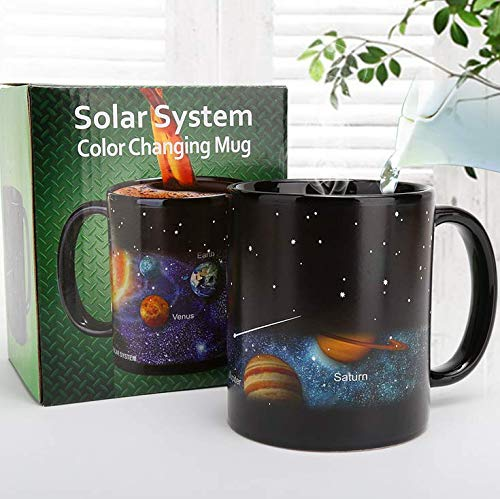 LSXX Heat Changing Coffee Mug Solar System Ceramic Heat Sensitive Color Changing Cup,Funny Mug ,...