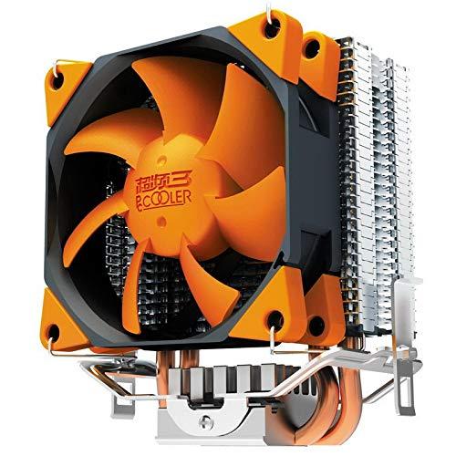 CYONGYOU Radiador Universal CPU Ventilador Naranja 2 Tubos