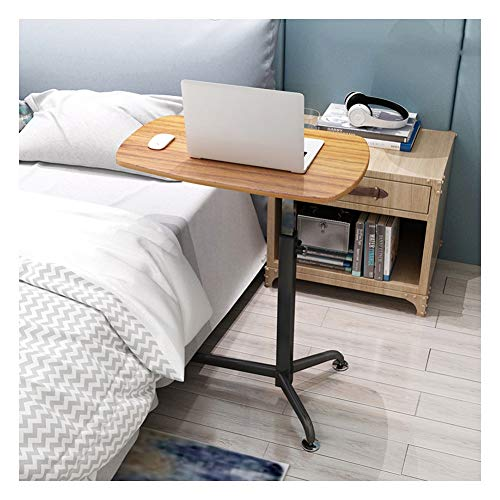 AFSDF Folding Bracket Mobile Table Laptop Table, Adjustable Height Laptop Table, Triangle Support, Can Be Used In The Bedroom overbed table tilt (Color : Oak color)