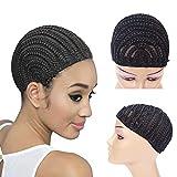Cornrow Crochet Braided Wave Wig Cap for Easier Crotchet Cornrows Braided Wig Caps for Women for Making Wigs (Black Braided Wig Cap 3pcs M)