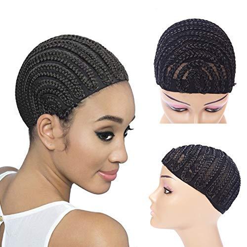 Cornrow Crochet Braided Wig Caps, 1 Piece Crochet Braided Wig Caps in Cornrow for Easier Sew In Weave Black Color Caps (Large Size)
