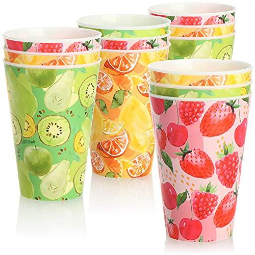 COM-FOUR® 12x Vasos de plástico reutilizables - Vasos de plástico con colores y motivos veraniegos - Vasos reutilizables a prueba de roturas para fiestas y campamentos