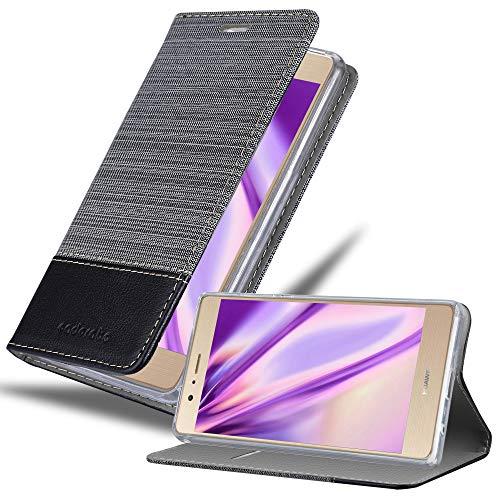 Hülle für Huawei P8 MAX - Hülle in GRAU SCHWARZ – Handyhülle mit Standfunktion und Kartenfach im Stoff Design - Case Cover Schutzhülle Etui Tasche Book