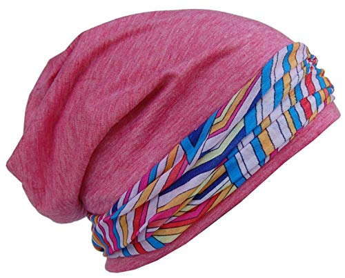Cool4 Beanie Pink Patchwork im Kopftuch-Look - 2erSet mit Halstuch Mundschutz Chemo Turban SBK03
