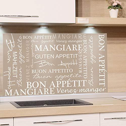 GrazDesign Spatbescherming glas voor keuken fornuis, afbeelding motief bruin Goede appetit internationaal alle talen, keukenachterwand glas keuken spiegel glazen achterwand 100x60cm
