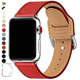 POWER PRIMACY Bands Compatible with Apple Watch Band 38mm 40mm 42mm 44mm, Top Grain Leather Smart Watch Band Compatible for Men Women iWatch Series 5/4/3/2/1 (Red/Silver, 38mm 40mm)