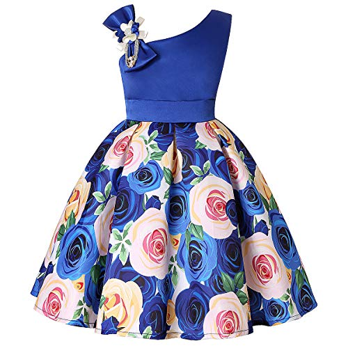 Cichic Mädchen Kleider Partei Kleider Elegant Kinder Prinzessin Kleid Kinder Hochzeits Geburtstag Kleid Blumenmädchen Formale Kleid 2-10 Jahre (3-4 Jahre, Blau)