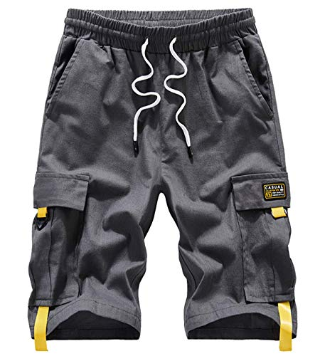 VtuAOL Men's Cargo Shorts Elastic Waist Casual Cotton Shorts with Multi Pockets Grey Asian 6XL/US 40