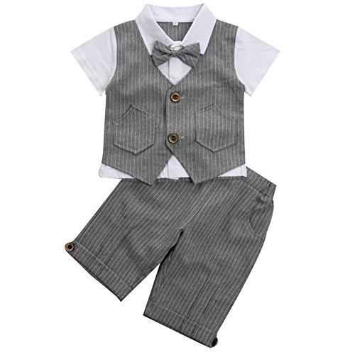 Baby Jungen 2-teiliges Strampler Smoking Gentleman Anzug Kurzarm Streifen Outfits Sommer Kleidung Jumpsuit Spielanzug Taufkleidung mitFliege (Grau, 80/12-18 Monate)