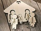 Portachiavi Casetta, InciSo, Idea regalo, Personalizzato in Legno a Mano per Muro Uomo e Donna, Famiglia