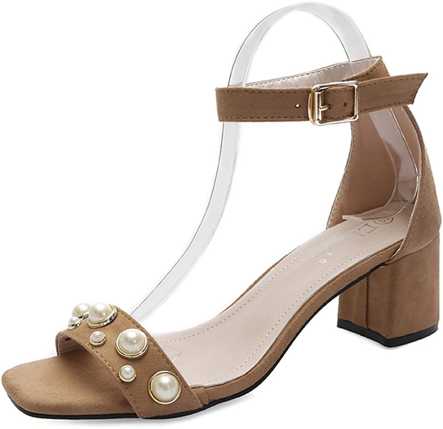 Genepeg Womens Sandals with Pearls Thick High Heels Gladiator Peep Toe Party Sandals Camel