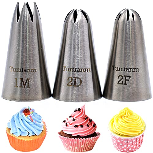 Tumtanm 1M 2D 2F Seamless Stainless Steel large Icing Piping Nozzles, DIY Icing Nozzle Tool for Cupcakes