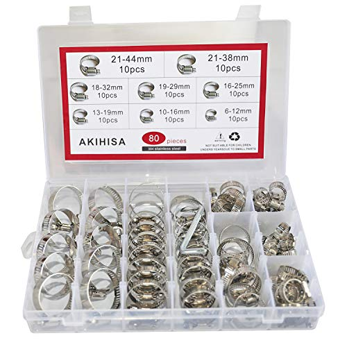 AKIHISA 80 Pcs Worm Gear Hose Clamps Assortment Kit Adjustable 304 Stainless Steel Pipe Clips with Wrench (Range 0.24 Inch to 1.73 Inch (6mm-44mm))