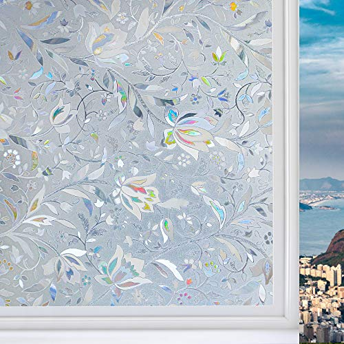 Haton 3D Fensterfolie Selbsthaftend Blickdicht Dekorfolie Regenbogen Effekt Sichtschutzfolie Ohne Klebstoff Statisch Wiederverwendbar UV-Blockierung Blume für kinderzimmer Küche Büro 45 × 200 cm