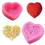 2 pezzi Cuore Rose Fiore Stampo in silicone Stampo per cioccolato Stampo per torta Stampo in silicone fondente Stampi in Silicone Fiori 3D di Sapone Stampo di Rosa 3D Fiore di Fondente