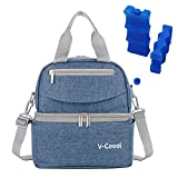 Rufun Isolierte Tasche für Babyflasche Brustmilch Lunch Kühler Wärmender Wasserdicht, 2 Eisbeutel inklusive (Denim Blue (Schultern))