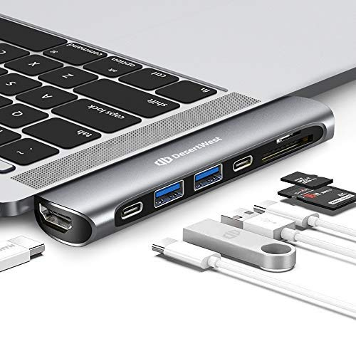DesertWest 7-in-2 Business USB C Hub Adapter Compatible for 2019 MacBook Pro 16'— 2016/ MacBook Air 2018-2020, Thunderbolt 3, Dock with 2 USB 3.0 Ports, 4K HDMI, 100W PD, SD/Micro SD Card Reader