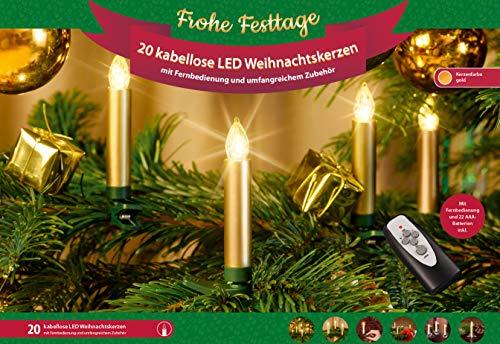 20 Premium Weihnachtskerzen ✔ Zubehör ✔ kabellos ✔ Timer ✔ Dimmfunktion ✔ GS geprüft ✔ Batterien ✔ Weihnachtsbeleuchtung | Weihnachtsbaumbeleuchtung für Innen & geschützten Außenbereich (Gold)