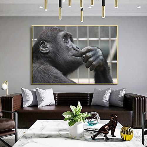 wZUN Carteles e Impresiones de Animales Modernos murales Lienzo Pintura Pensando imágenes de orangután para Sala de Estar decoración del hogar 40x60 cm