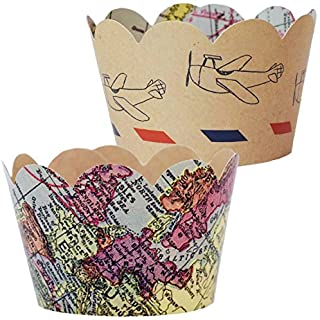 Travel Themed Going Away Decorations - 36 Vintage Map Cupcake Wrappers | Farewell Retirement Party Supplies, Airplane Birthday, Adventure Awaits Cup Cake Liner, Around the World Wedding Favor Holder