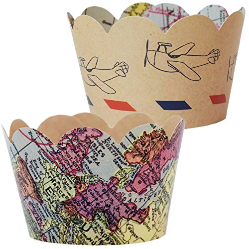 Travel Themed Going Away Decorations, 36 Vintage Map Cupcake Wrappers, Farewell Retirement Party Supplies, Airplane Birthday, Adventure Awaits Cup Cake Liner, Around the World Wedding Favor Holder