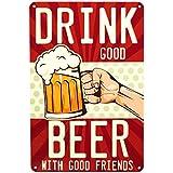 Retro Blechschild Bier, lustiges Schild mit Spruch als Geschenk, Bar Deko für Männer, passend für die Kneipe, den Partykeller oder Stammtisch, vintage Metallschild mit Stanzung 20x30cm