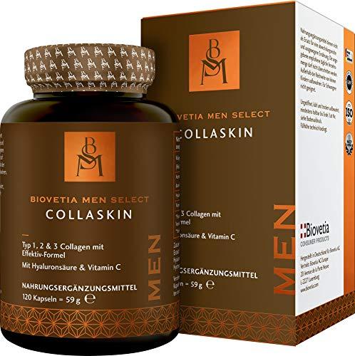Bioetia Men Select CollaSkin, Hautvitamine für Männer mit erweiterter Kollagen-Formel Typ 1, 2, 3 + Hyaluronsäure, Vitamin C, Anti-Aging Formel für Männer, Haut Haare Nägel, 120 Kapseln