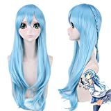 TLSD Asuna Yuuki Wig Anime Sword Art Online Cosplay Costume Long Blue Hair with Braid for Women Halloween Party Synthetic Wigs