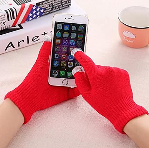 Guantes de Punto para Mujer Guantes Gruesos cálidos de Invierno con Pantalla táctil Manoplas sólidas para Tableta de teléfono móvil-Red-1