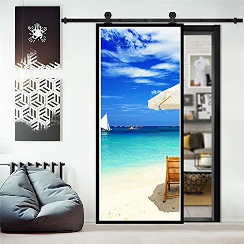 Pegatinas de Puerta Impermeables 3D extraíbles decoración de Puerta autoadhesiva Sala de Estar Dormitorio Pegatinas de Puesta de Sol de Verano DIY A17 77x200cm