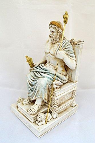 Estia Creations Zeus Ancient Greek God King Leader of All 12 Gods Sculpture Throne Statue (26cm)