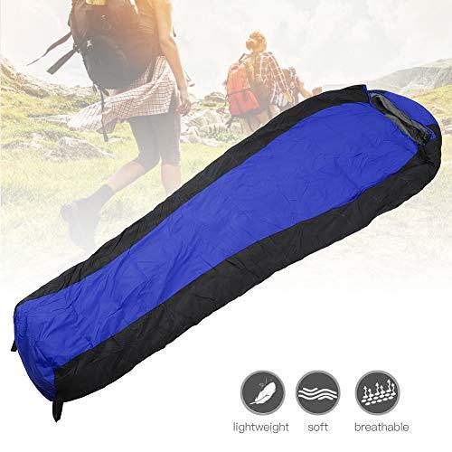 Saco de dormir de invierno cálido al aire libre, saco de dormir de nylon de alta capacidad portátil con relleno de pato para acampar al aire libre, senderismo y actividades al aire libre(Azul)