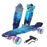 Beleev Skateboard 22 inch Complete Mini Cruiser Retro Skateboard for Kids Teens Adults, Light up Wheels for Beginners (Galaxy Blue)