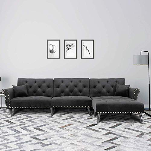 Romatlink L Shape Bed Sectional Sofa Chaise Button Tufted Couch with 2 Pillows, Silver Nailhead Trim Silvertone, Wood Leg, Black