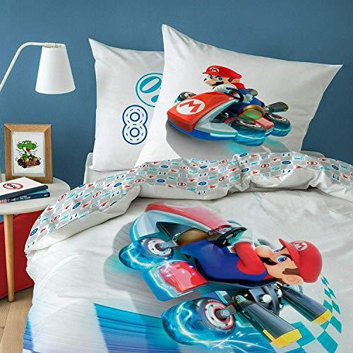 CTI Wende Bettwäsche-Set Super Mario Kart, 135x200 cm 80x80 cm, 100% Baumwolle, Speed, Linon