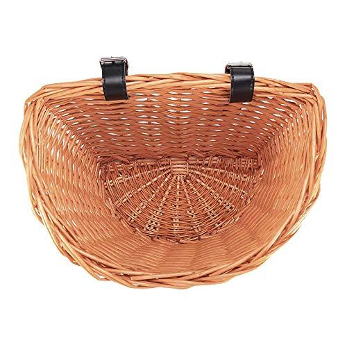 Miouldram Cesta para bicicleta con forma de D de mimbre, cesta para la compra, portátil, cesta para verduras de Mountain Bike, cesta delantera para la protección del medio ambiente, 35 cm