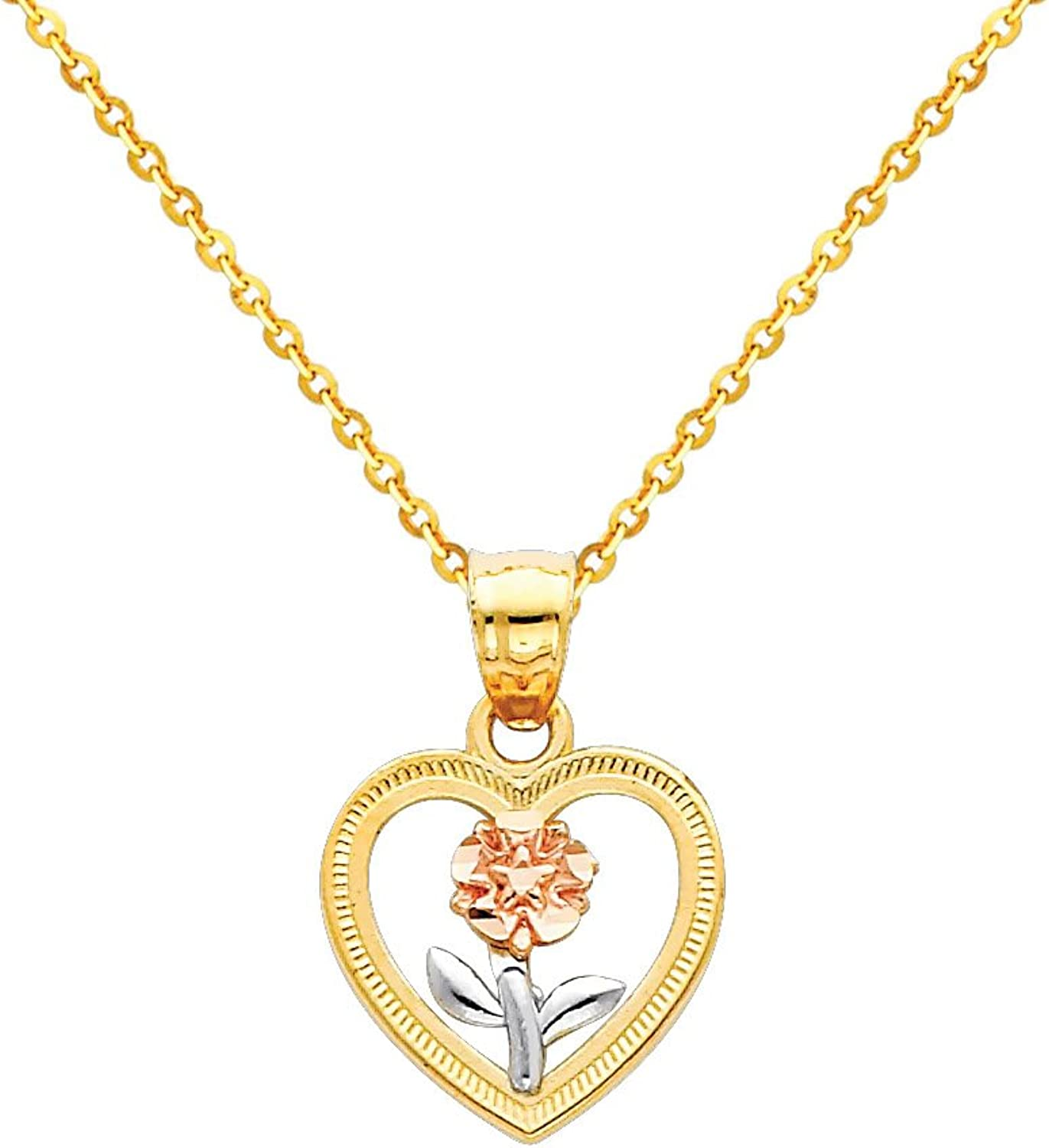14k Tri color gold Flower in Heart Charm Pendant with 1.2mm Side Diamondcut Rolo Cable Chain Necklace