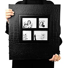 Size: length 14.5 x width 13.4 x thick 2.5(inches), with 60 sheets/120 pages of photo page. Can hold 5pcs of 6x4 photos per page, A total of 600 photos.Large capacity deluxe custom. Design: Sewn Leather collage frame cover, crocodile leather texture,...